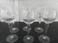 6 lovely wine glasses