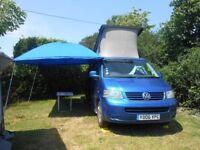 Campervan Sun Canopy. 'Just Campers' Blue Cotton Sun Canopy.