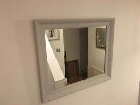 Beautiful grey farrow and ball painted mirror with beautiful detail