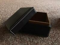 Set of 2 Small Brown Faux Leather storage boxes