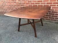 Vintage ERCOL ELM Dining Table Drop Leaf Mid Century RETRO Blue Label 1960