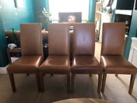 Solid Oak Dining Table & Real Leather Chairs