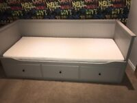 Ikea hemnes day bed in light grey with 2 mattresses (single to double)