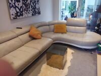 DFS Large Leather corner Sofa and Arm Chair
