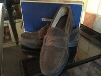 Sebago brand new gents real suede slip on shoes dark brown
