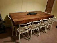 Oak 6 seater dining table, Laura Ashleigh Chairs