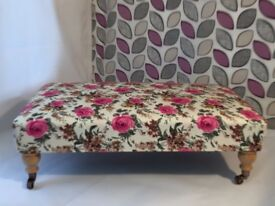 *** BEAUTIFUL NEW UPHOLSTERED BESPOKE FOOTSTOOL XX LARGE ANTIQUE ROSE FLORAL VELOUR FABRIC WOW ***