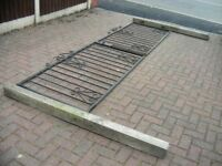 Pair of Metal Driveway Gates Drive Entrance 3.8m inc 5ft 6inch concrete posts