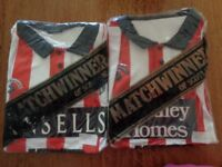 VERY RARE MATCHWINNER FRADLEY HOMES STOKE CITY SHIRT + ANSELLS STOKE CITY SHIRT HIGHLY COLLECTABLE