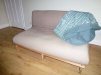 Double futon sofa bed, pine frame and coloured mattress with 2 covers