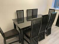 Modern Family Extending Dining Table 6 8 Seater Chairs Black High Gloss Grey White Large BARGAIN