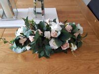 wedding head table fake flowers blush & ivory