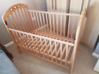 LIKE NEW HARDLY USED MAMAS AND PAPAS VERY STURDY PINE WOODEN COT