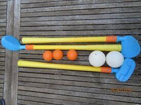 Golf set, Hand sports set, Hobbie horses, scooter, set of boules & skipping, kites.