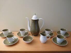 Susie Cooper 1950's Coffee set - Green and white spot