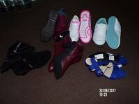 6 pair womens shoes and boots and 2 pair mens shoes