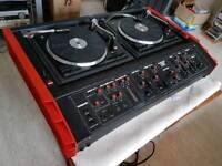 SOUNDOUT SOUND CENTRE DISCO TWIN TURNTABLES DOUBLE DECK CONSOLE RARE 2x200w AMP