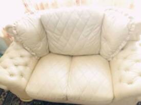 Real leather cream sofa.