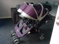City Mini Jogger DOUBLE pram - purple and grey. Excellent condition