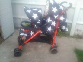 Cosatto SHUFFLE DOUBLE STROLLER with Footmuff & Raincover Hipstar
