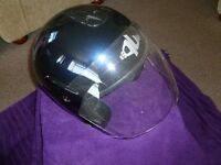 Open faced crash helmet