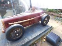 LARGE RARE VINTAGE RACING CAR & DRIVER IN WOOD WITH RUBBER WHEELS