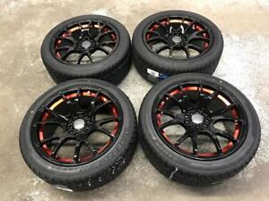 "17"" Black/Red Wheels 5x100/5x114.3 and All Season Tires (Japanese Cars) Calgary Alberta Preview"