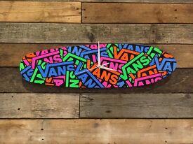 Skateboard Deck Clock, Handmade, Vans stickerbomb style