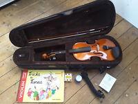 Stentor 3/4 violin, bow, case, shoulder rest, pitch pipe, rosin & book