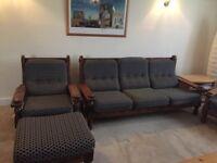 3 seater sofa & 2 armchair plus footstool