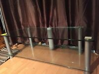 Glass TV Stand Silver