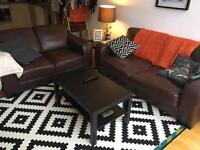 Pair brown leather style sofas 3+ 2 seat two piece suite