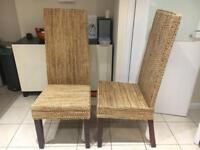 Banana leaf rattan dining chairs