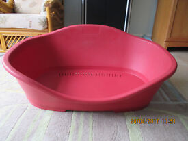 Large Dog Bed - Red Plastic