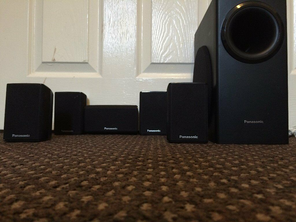 panasonic 5 1 home cinema speakers set 1 subwoofer 5 speakers natural sound working condition. Black Bedroom Furniture Sets. Home Design Ideas