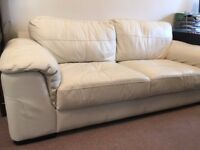 Cream Leather Sofa, 2 Seater