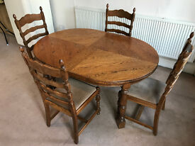 FREE DELIVERY - Solid Oak Table & Solid Oak Chairs