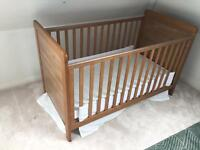 Cot bed, mattress and changing furniture (matching)