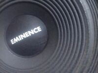 """Two Eminence 12"""" speakers."""