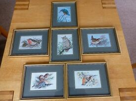 Embroidered pictures of British birds