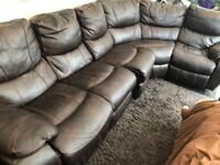 Leather Corner sofa 5 seater + 3 seater brown leather great condition