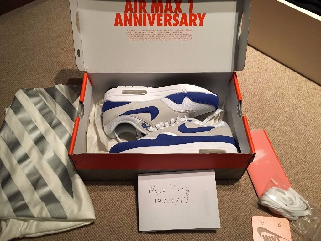 watch 19271 74471 ... reduced nike air max 1 og 2017 royal blue size eu38.5 uk5.5