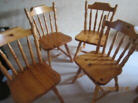 ** 4 PINE DINING ROOM CHAIRS **