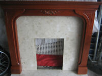 WOOD FIRE SURROUND WITH MARBLE HEARTH AND BACK