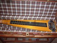 SELMER VINTAGE 1950s LAP STEEL SLIDE GUITAR WITH ORIGINAL LEATHER CASE & MEL BAY TUITION BOOK