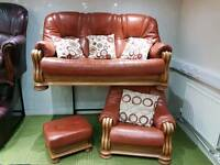 Burnt orange 3 piece suite 3 seater sofa, armchair and pouffee