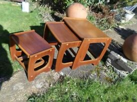 Teak retro nest of wood vintage nest of coffee side tables Wallington