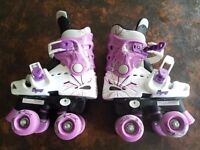 Osprey Roller Skates Childs Size 10 11 12 Quad 4 wheel RollerSkates White Pink Purple Girls Kids