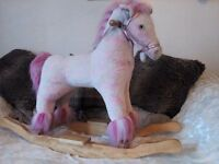 !!!!BARGAIN!!!!PINK GIRLS WOODEN ROCKING HORSE WITH HANDLE!!!!!!!!