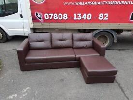 Brown leather corner group sofa £125-we have the feet of this